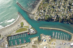 a bird's-eye view of the busy port of brookings harbor